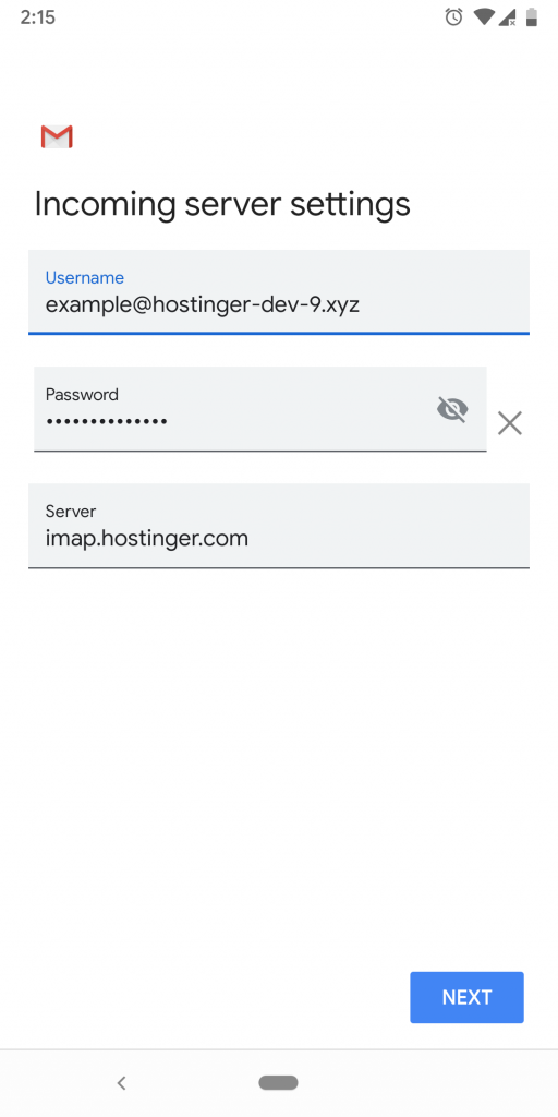 Incoming server settings that users need to fill in