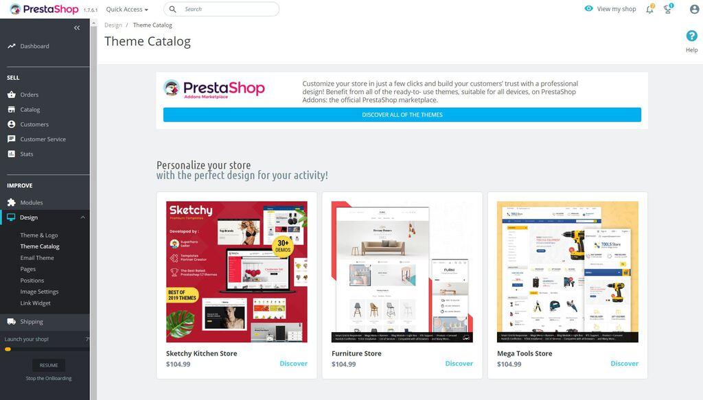PrestaShop theme catalog.