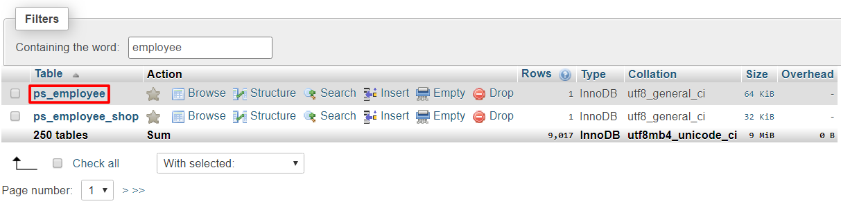 Accessing the employee table on phpMyAdmin.