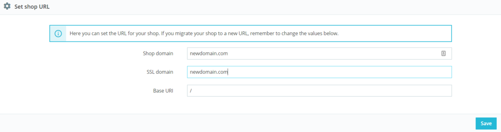 The interface for setting the shop URL.