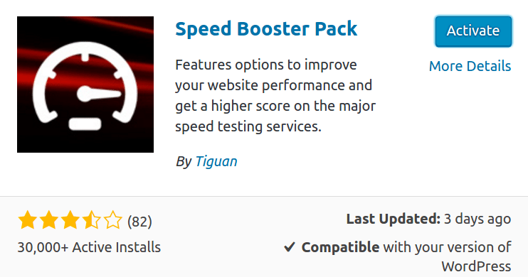 WordPress Speed Booster Pack activation