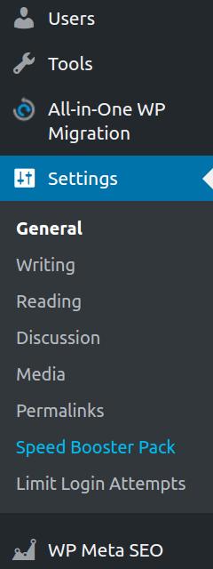 Speed booster pack settings in WordPress dashboard