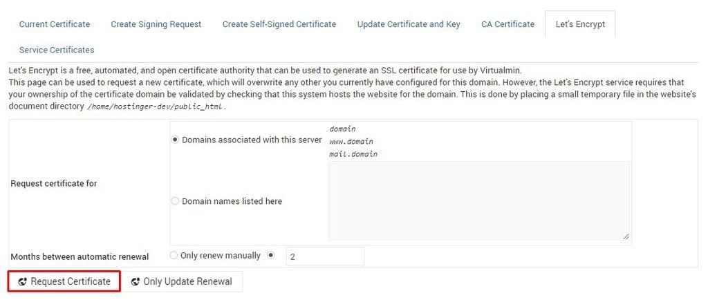 Let's Encrypt settings in Webmin