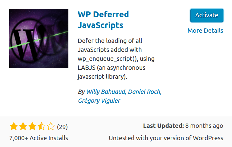 defer parsing of javascript via wp deferred js plugin
