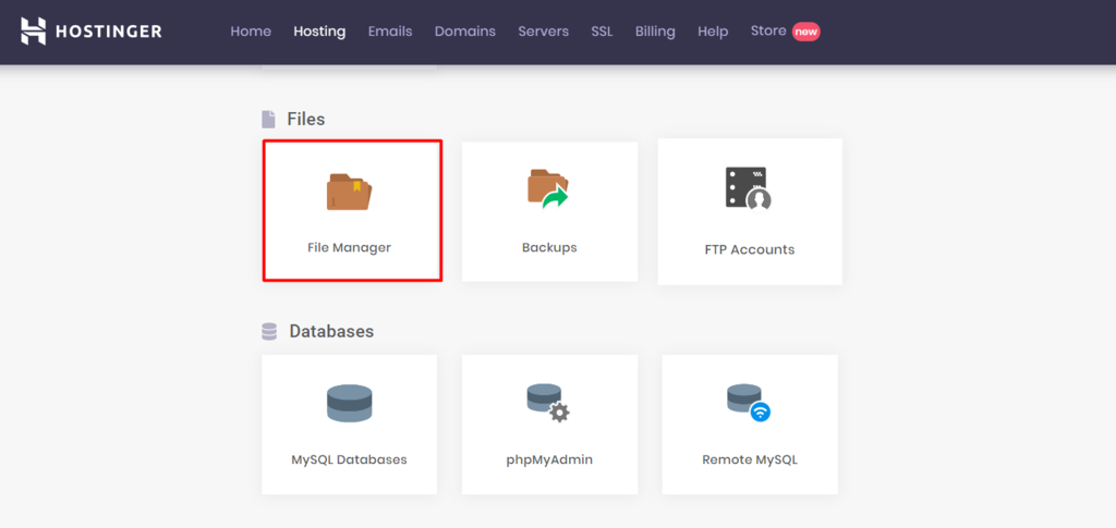 The File Manager on hPanel