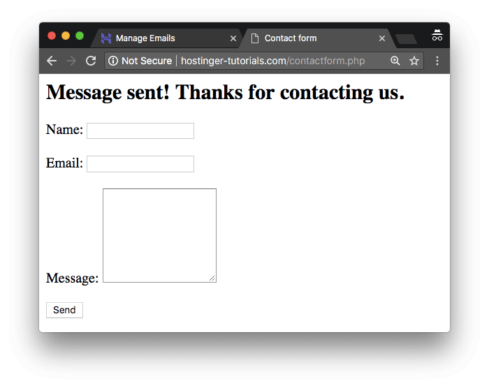 Basic contact form created with PHPMailer