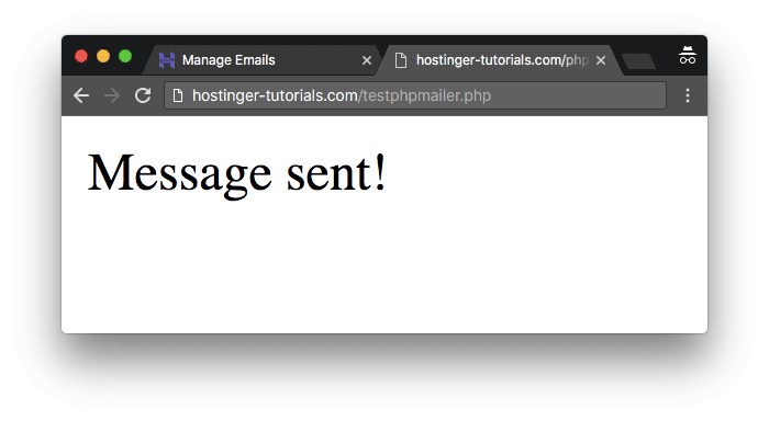 PHPMailer test SMTP message success