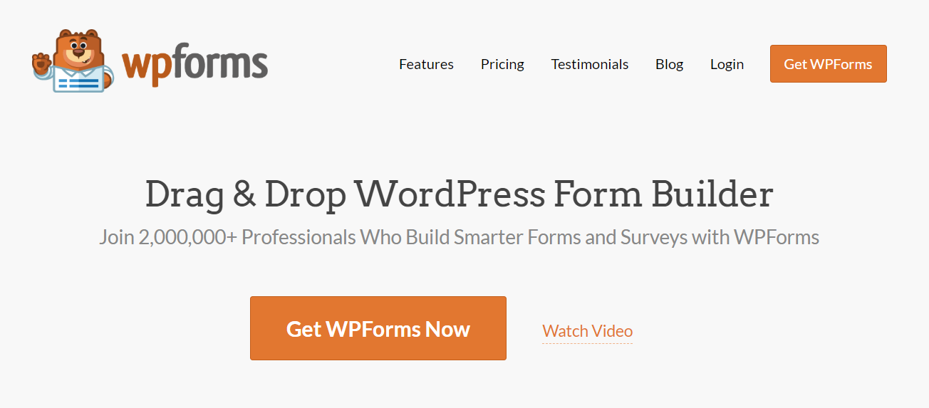 WP Forms website form builder for WordPress homepage.