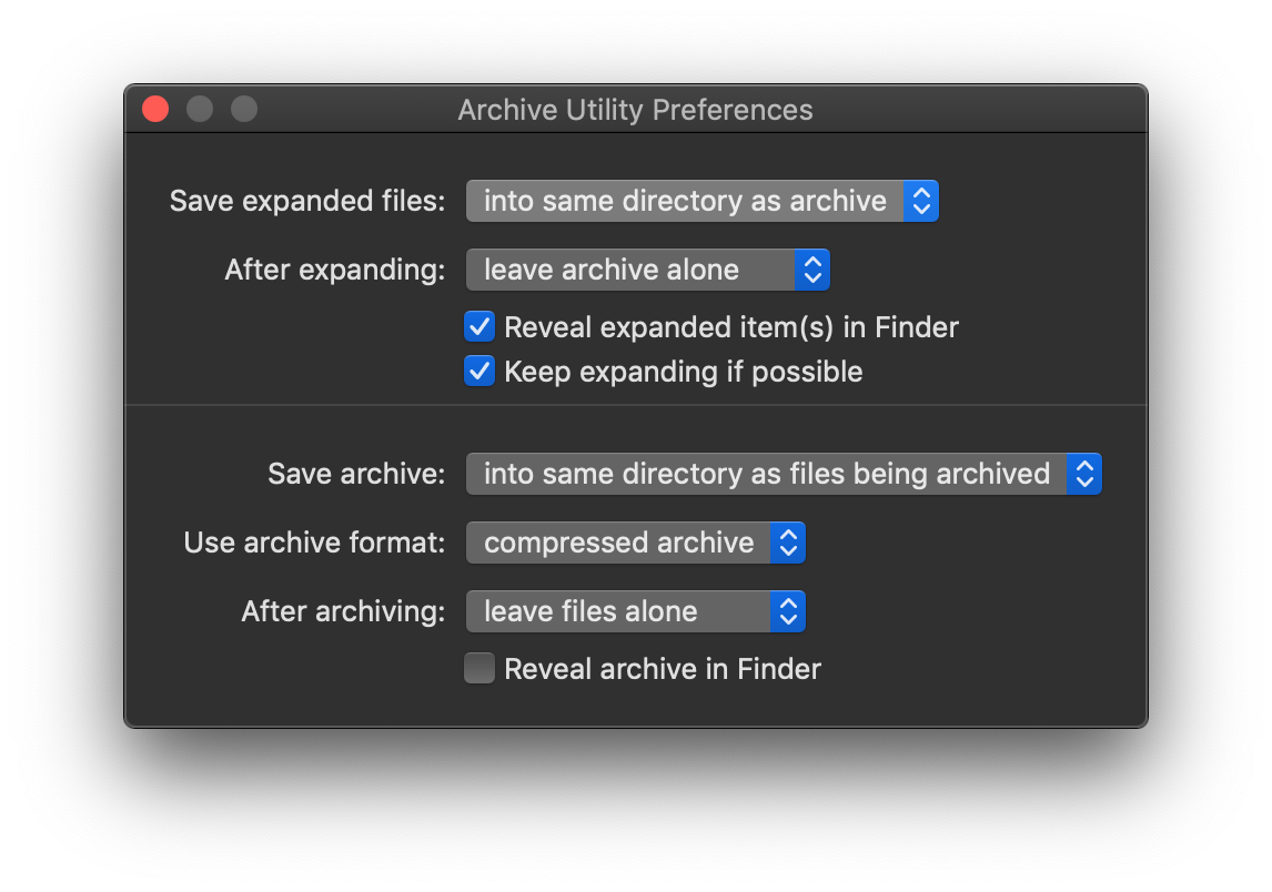 Archive Utility System Preferences on MacOS