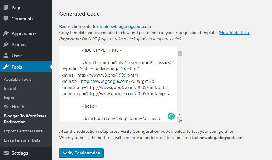 Blogger To WordPress Redirection Generated Code