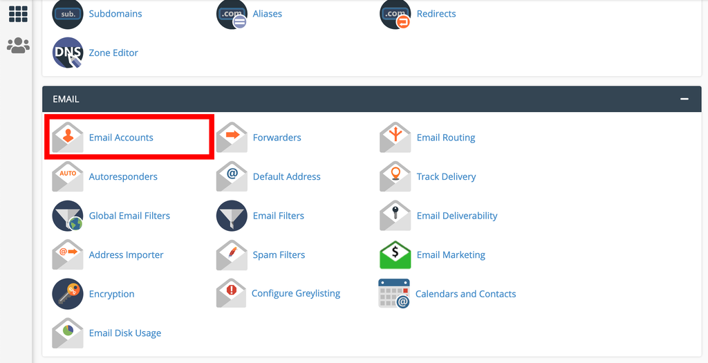 Accessing email accounts in cPanel.