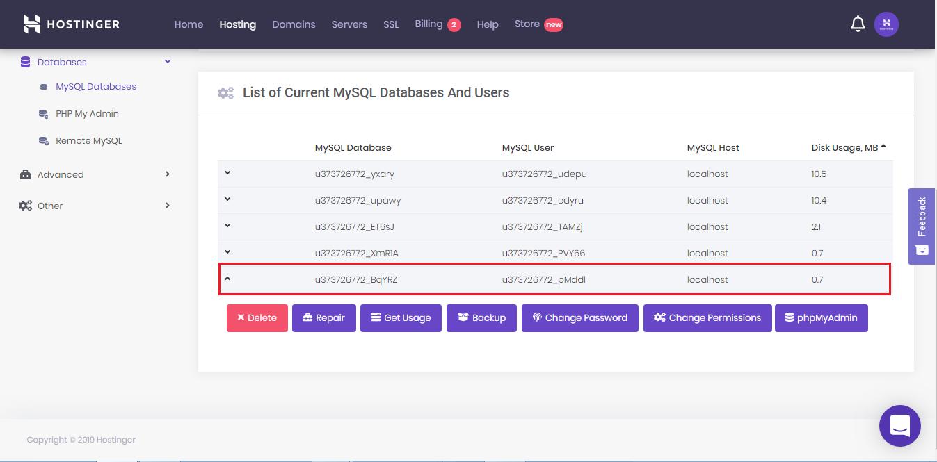 List of MySQL databases on hPanel