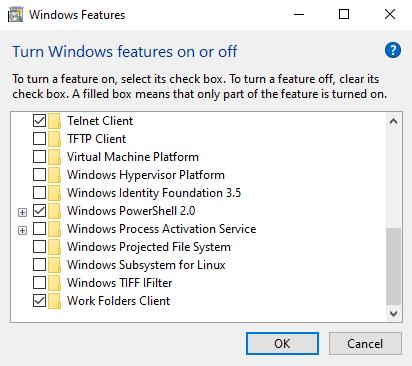 kích hoạt Telnet Client trên Windows.