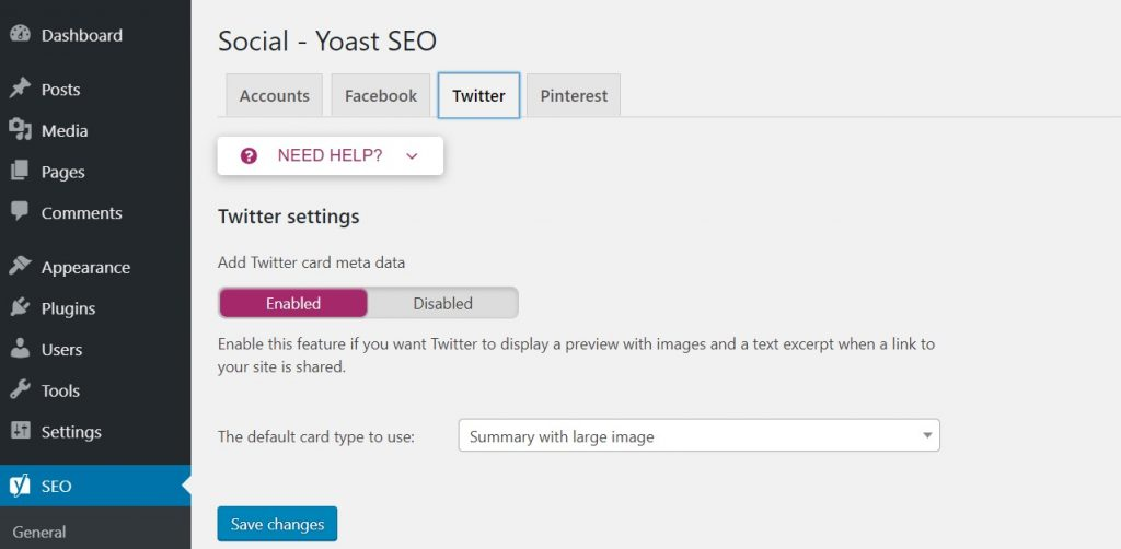 Enabling Twitter card metadata in Yoast plugin