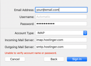 Sign in form for Mac Mail