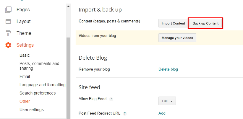 Import and Back up Section on Blogger Dashboard