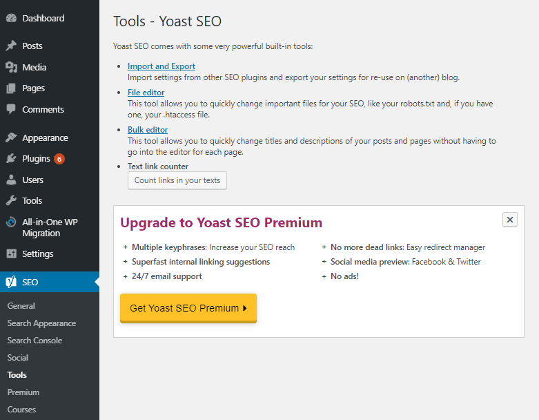 Yoast's SEO tools to import and export data