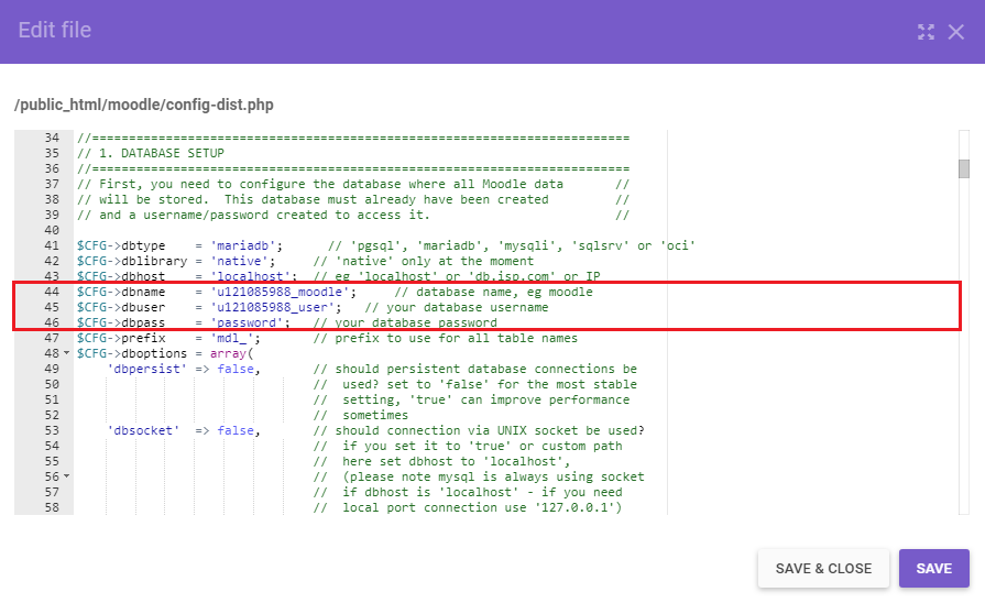 Moodle database information the in config-dist.php