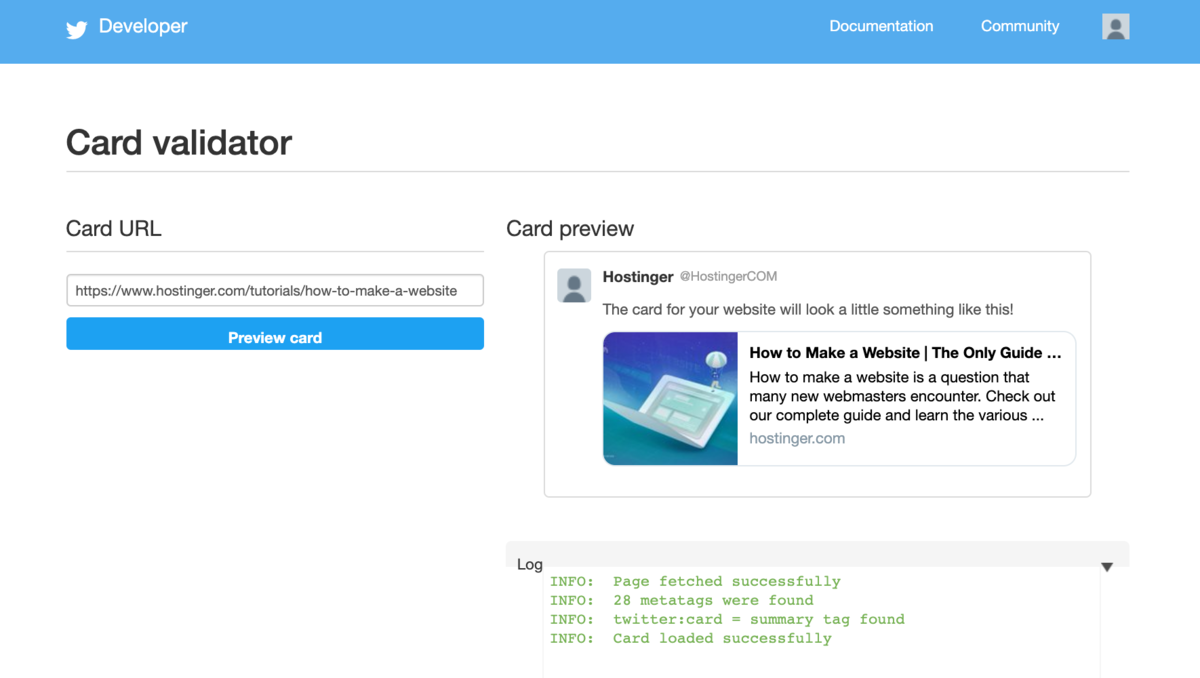 Twitter card validator shows that the twitter card is working