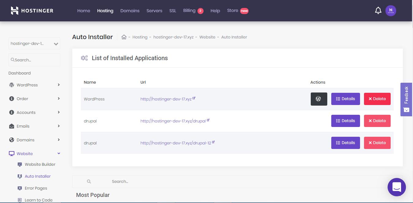 Uninstalling WordPress using Auto Installer