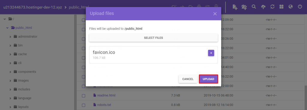 Uploading the favicon.ico file to your wordpress directory to add a favicon to your website