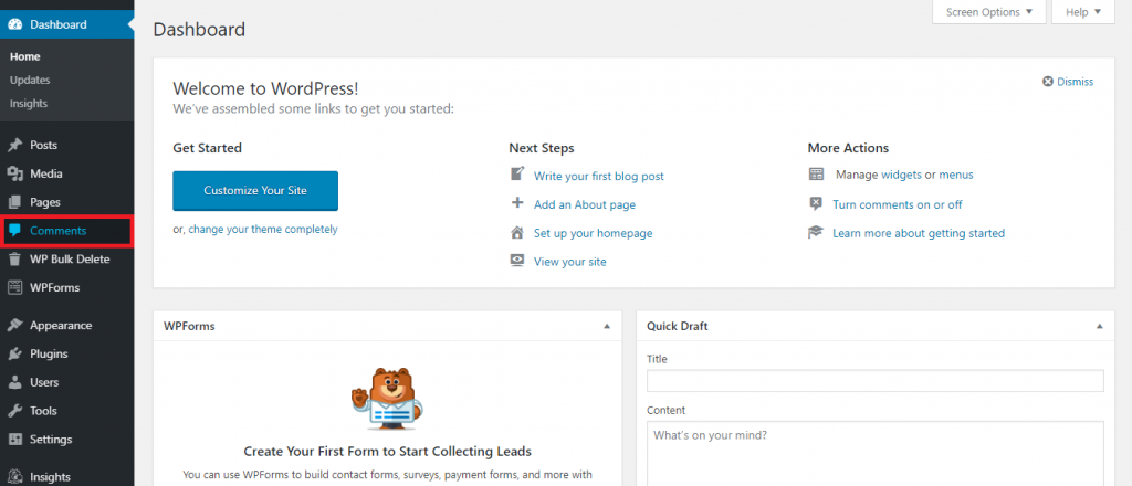 How to delete all WordPress comments from WordPress dashboard