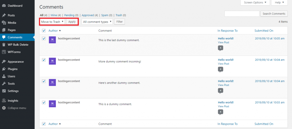 This image shows you how to delete all comments in WordPress from the platform's Comments section.