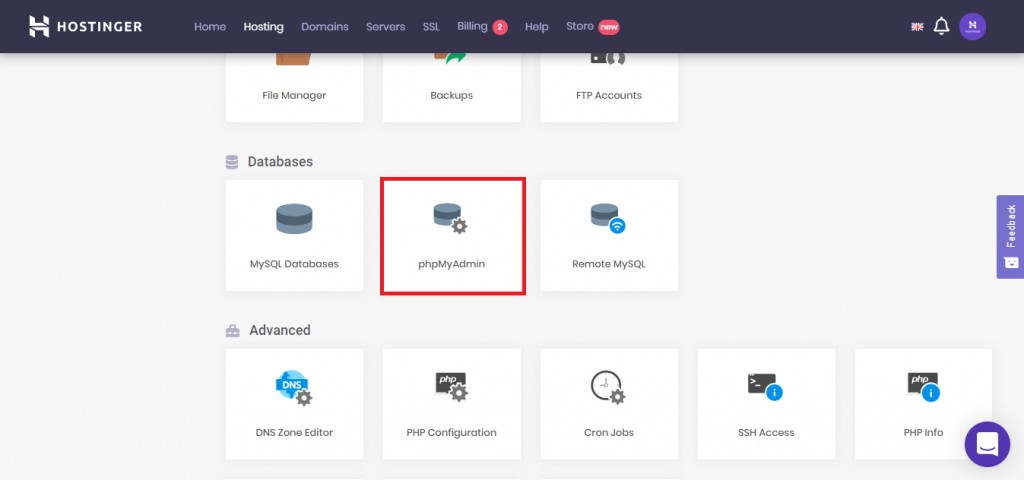 This image shows you how to access phpMyAdmin from hpanel dashboard.