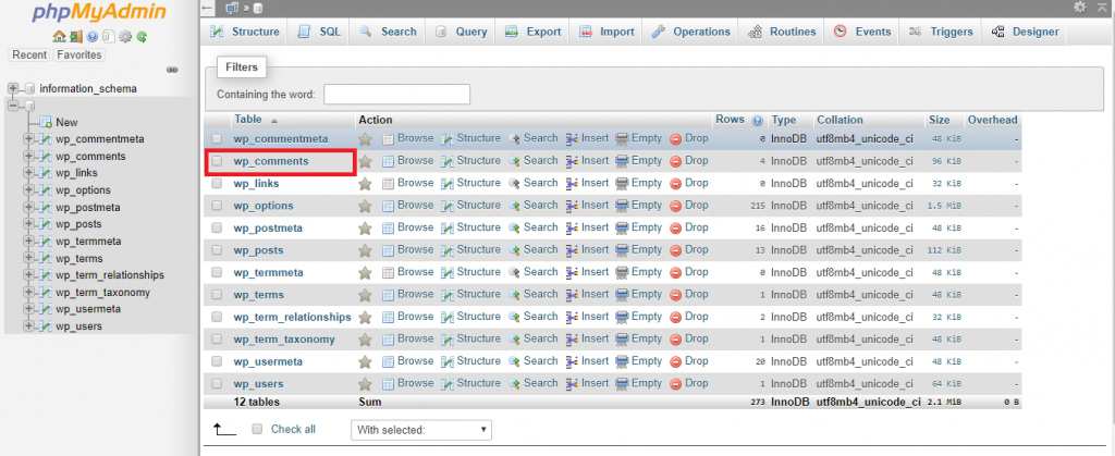 This image shows you how to access wp_comments from phpMyAdmin.