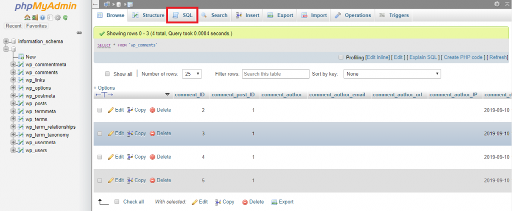 This image shows you how to access the SQL query tab of the selected table.