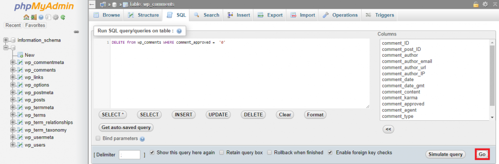 This image shows you how to execute the SQL query.