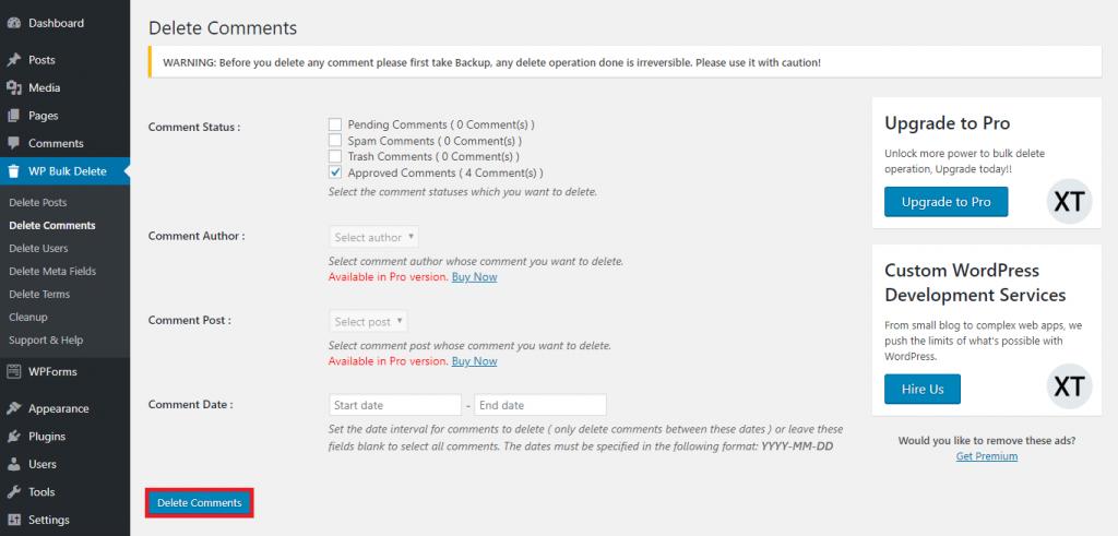 This image shows WP Bulk Delete's comment deletion settings.