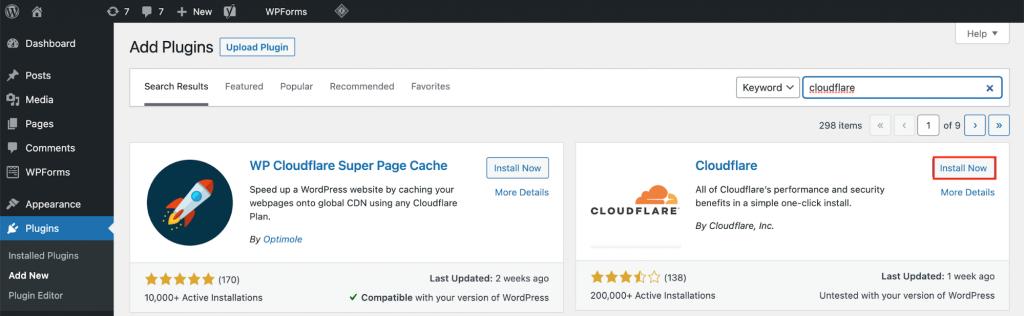 Cloudflare plugin on WordPress