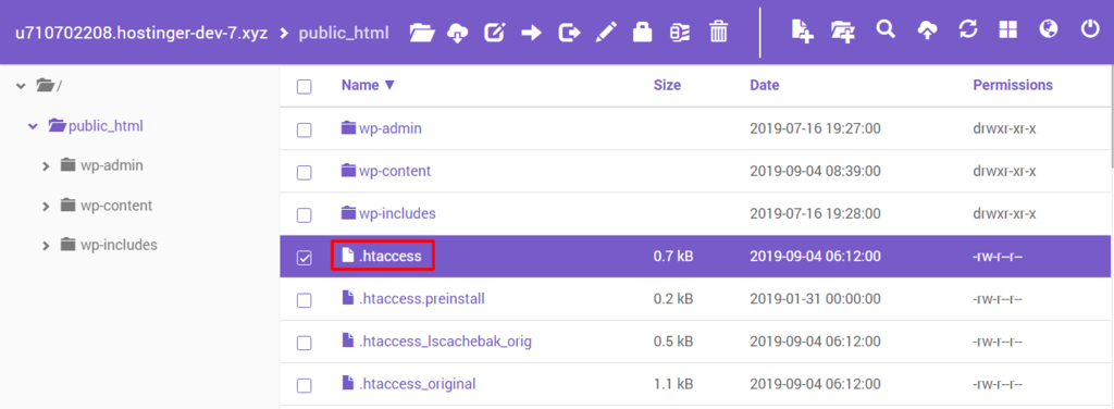 Finding the .htaccess file on File Manager.