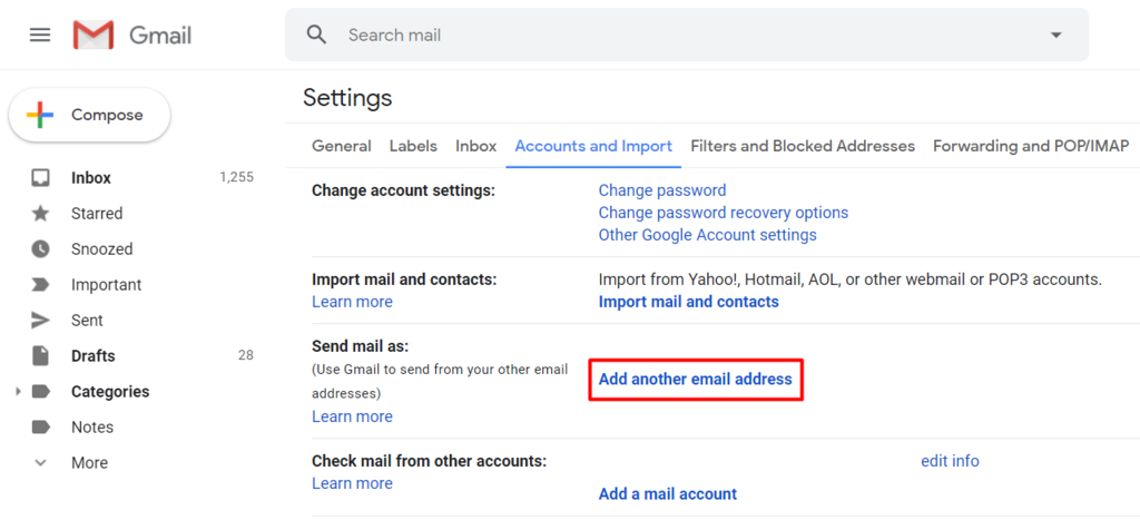 add another email address on gmail dashboard