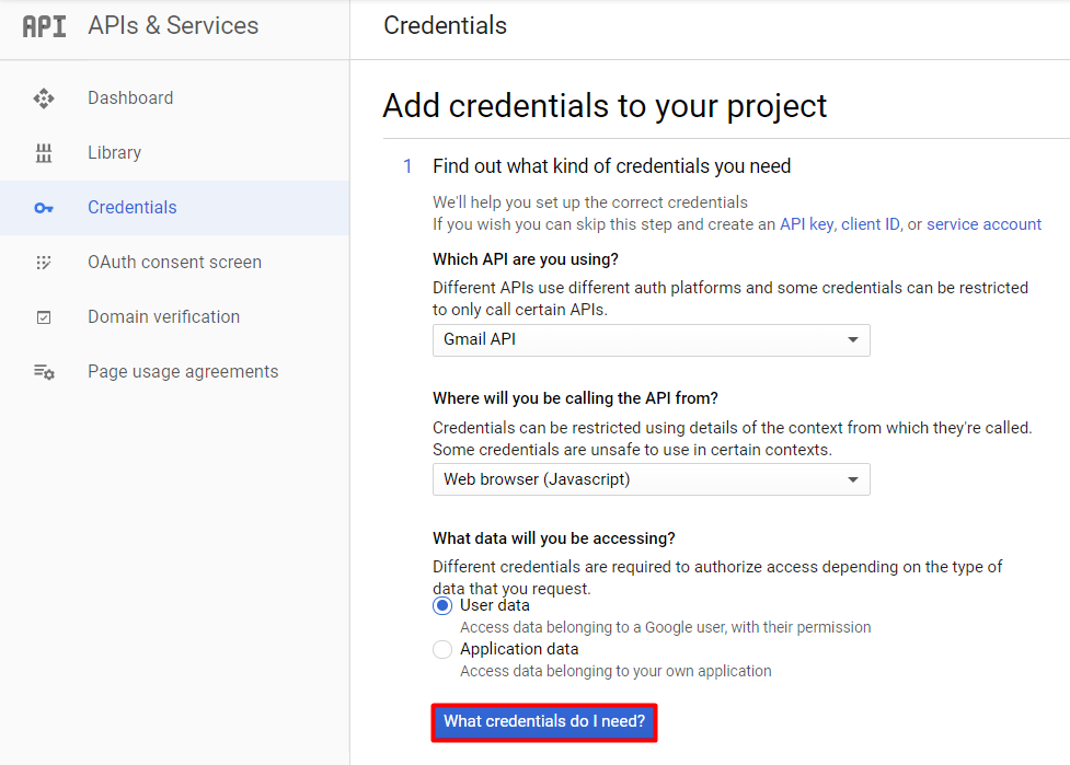 add credentials to gmail api