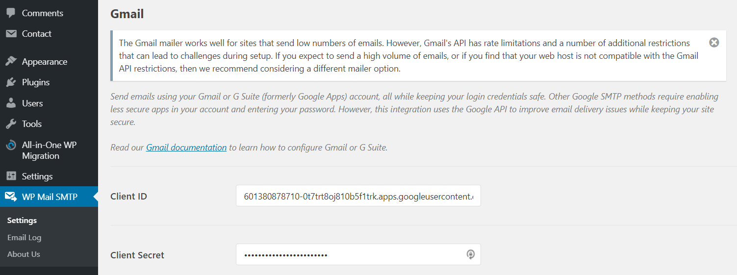 client id and client secret in wp mail smtp dashboard