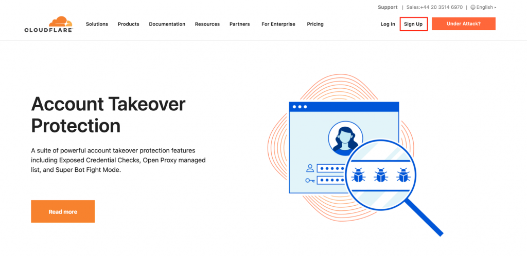 Cloudflare landing page