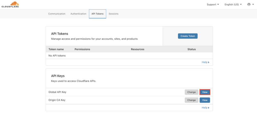 Cloudflare API tokens