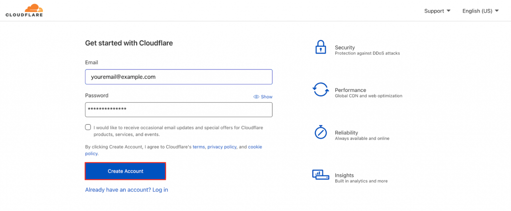 Cloudflare signup page