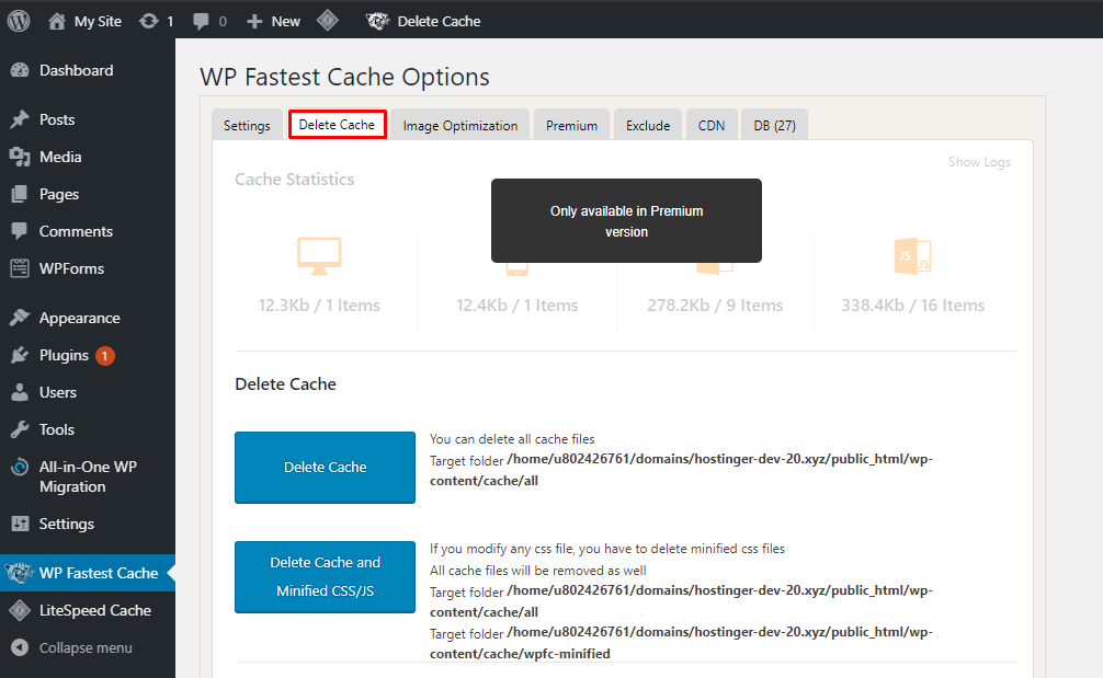 This image shows you how to delete WordPress cache with a plugin