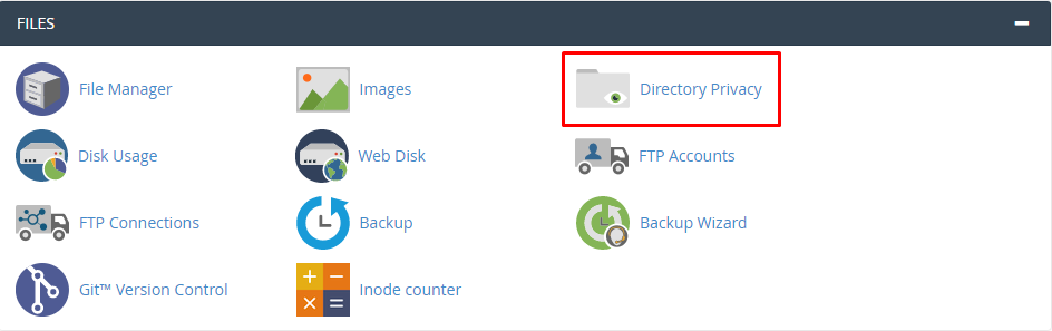 This image shows you the Directory Privacy tool in cPanel.
