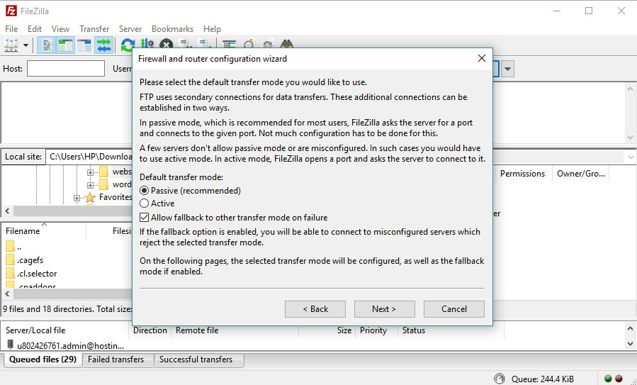 This image shows you how to edit firewall and configuration wizard in FileZilla