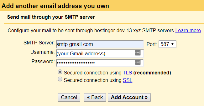 filling the google smtp server information on gmail