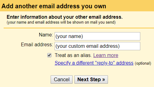 filling the name and custom address on gmail dashboard