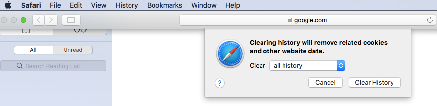 This image shows you how to clear browsing data on Safari