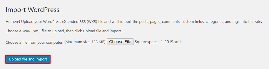 This image shows you how to import files on WordPress