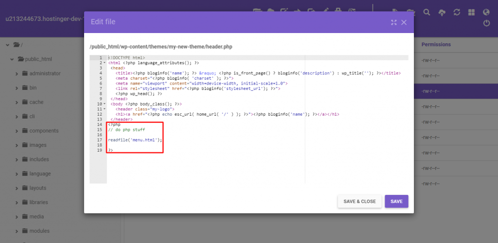 Adding the readfile function at the bottom of the header.php file to display the dropdown menu css to your website.