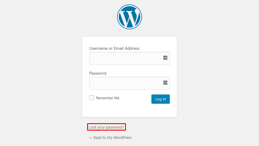 This image shows you the lost your password? feature on WordPress admin login page