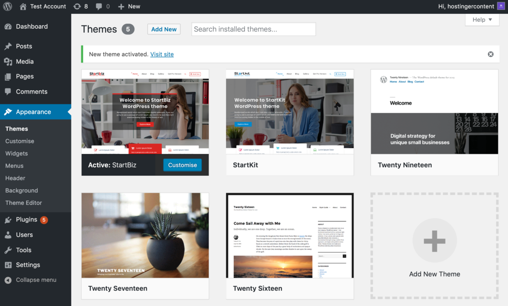 New WordPress theme installed and activated